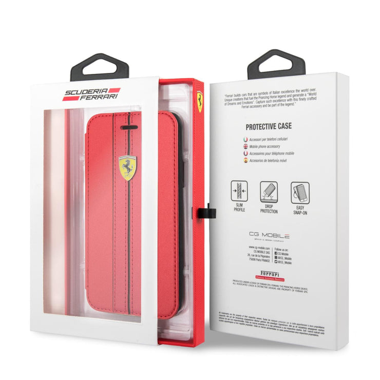 Ferrari P.U. On Track Leather Vertical Stripes Wallet