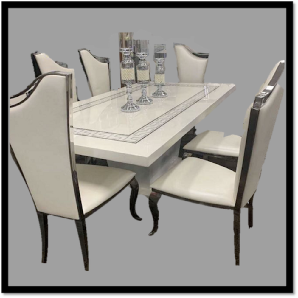 Classy Marble Dining Table With Six Chairs Dining Set Rbm Classic Home