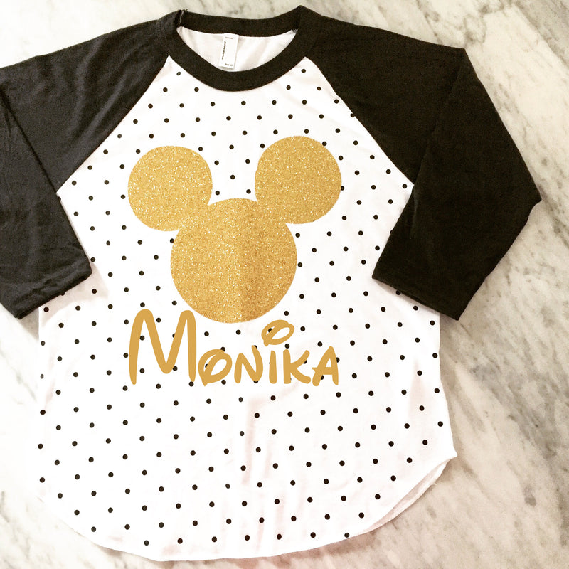 polka dot mickey mouse shirt, gold glitter mickey, disney vacation shirt