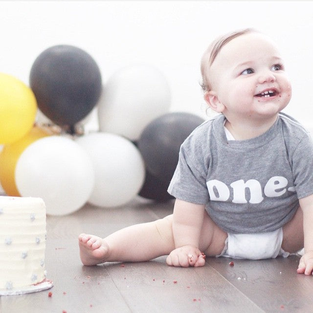kids birthday shirt, modern simple style, grey tshirt, first birthday shirt