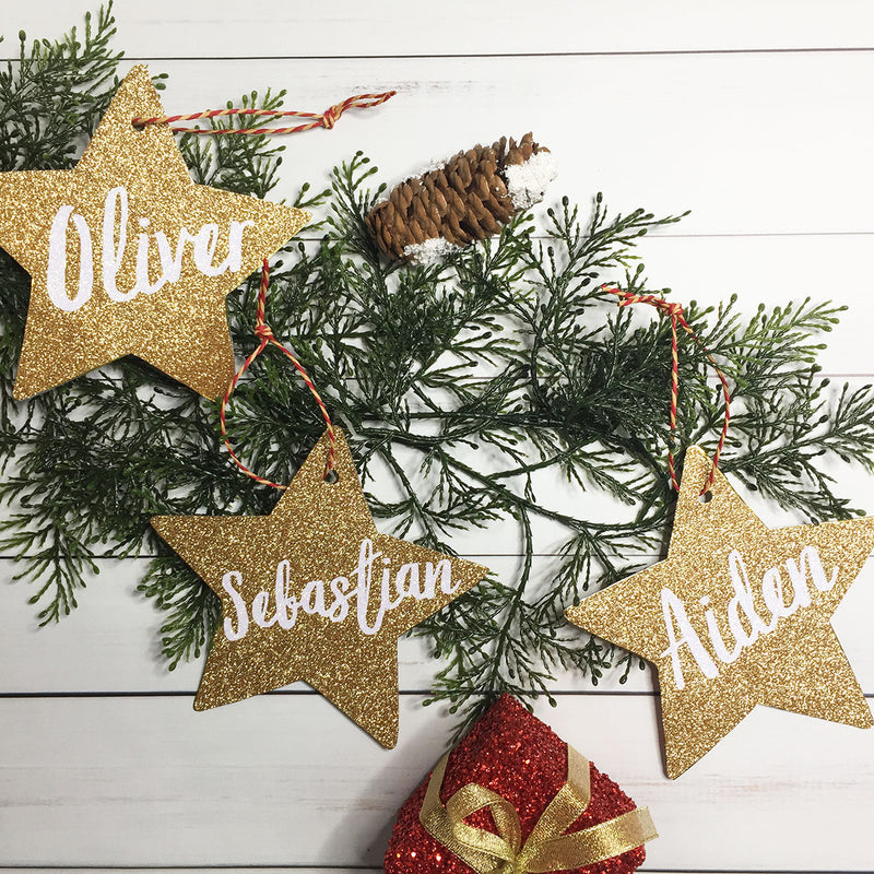 Christmas Tree Star Ornament, Gift Tag - Personalized, MANY COLORS