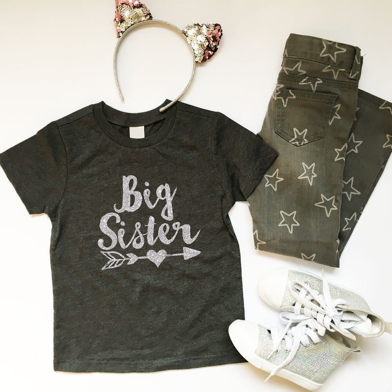 BIG sister shirt - real GLITTER and gorgeous calligraphy font