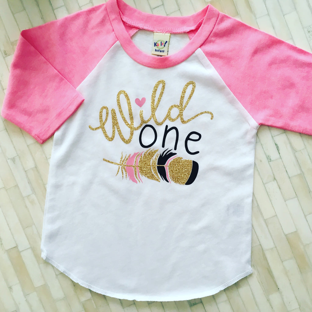Baby Girl 1st Birthday Shirt, Girls Wild One Birthday Shirt, Girls First Birthday Shirt