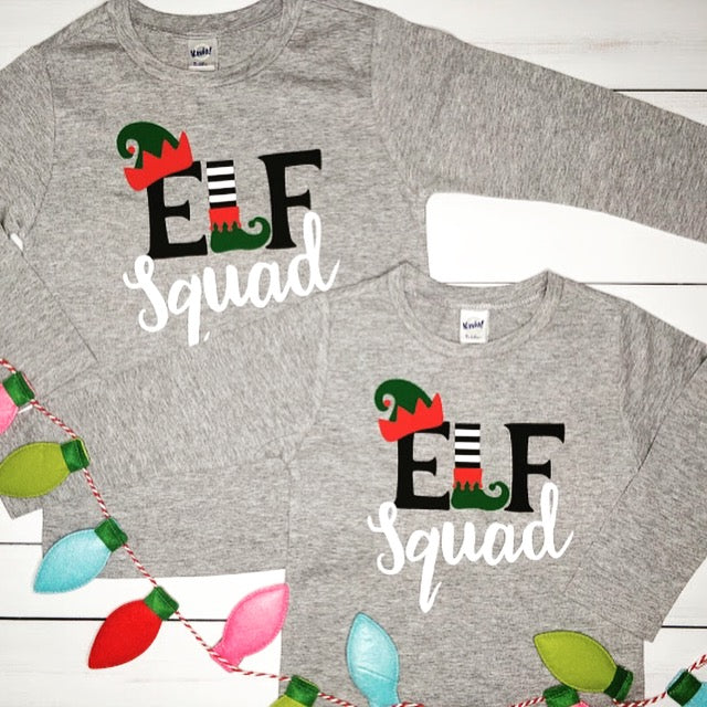 Elf Squad, Kids Christmas Shirt, Long Sleeve