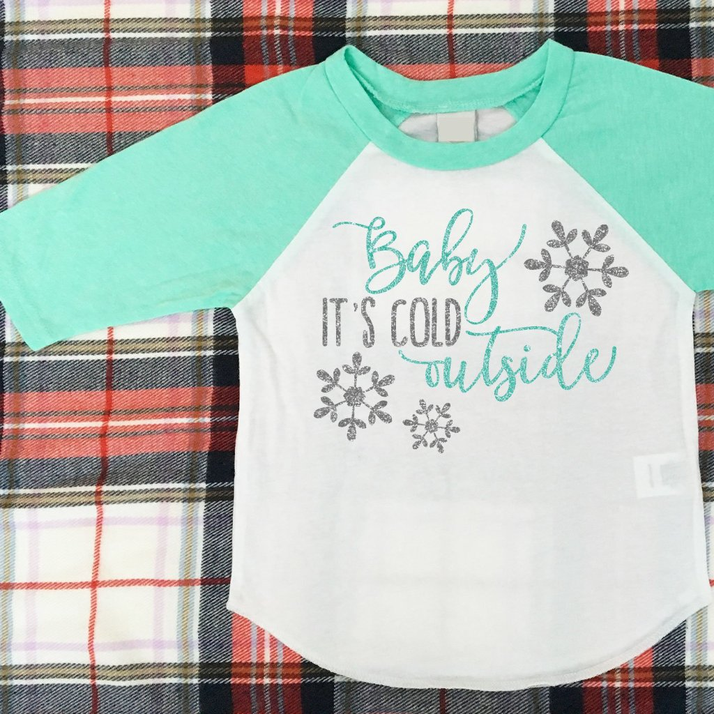 Baby It's Cold Outside Shirt, Girls Glitter Winter Long Sleeve Top, Mint Baseball Raglan Shirt