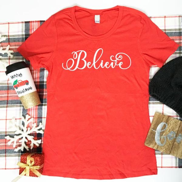Believe Ladies Tshirt, Ladies Christmas Shirt, Christmas Magic, Ladies Santa Shirt