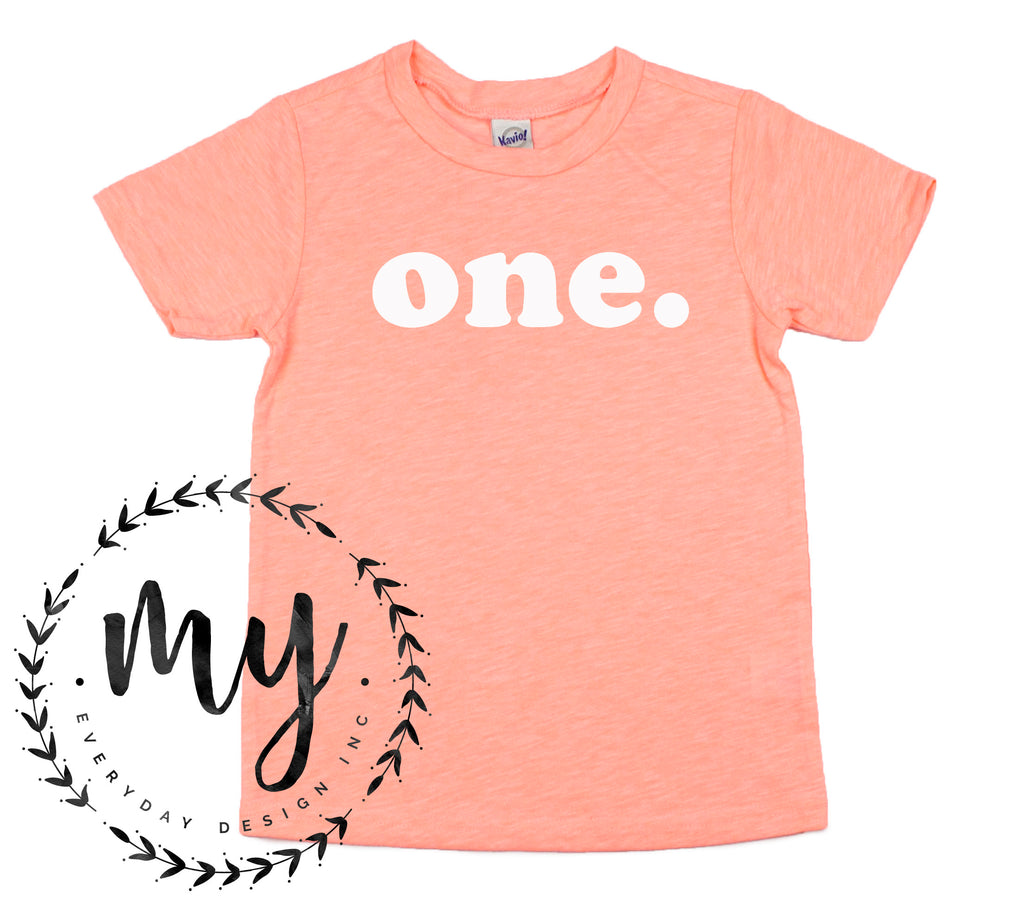 kids birthday shirt, modern simple style, coral tshirt, first birthday shirt