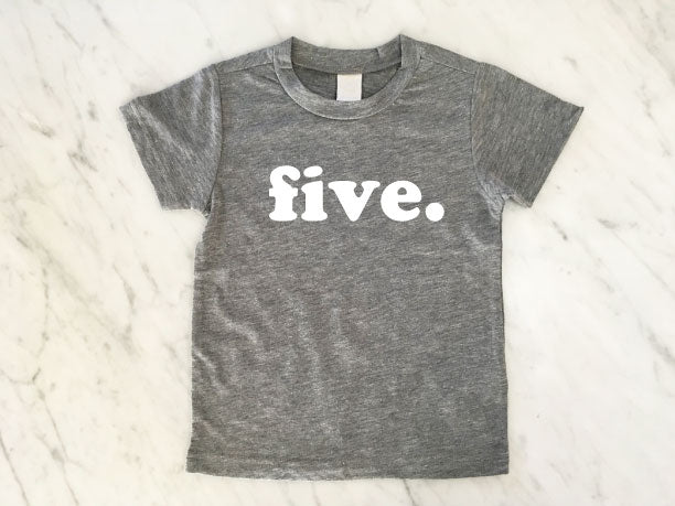kids birthday shirt, modern simple style, heather grey tshirt, fifth birthday shirt
