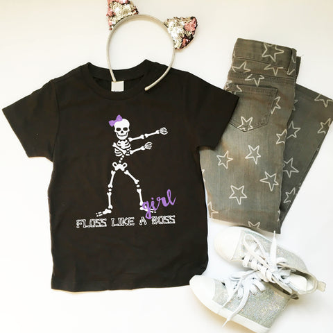 Fortnite Floss Halloween tshirt, Skeleton Floss Halloween shirt, Floss Like A Boss tshirt, Girls Halloween Shirt, The Floss T-Shirt