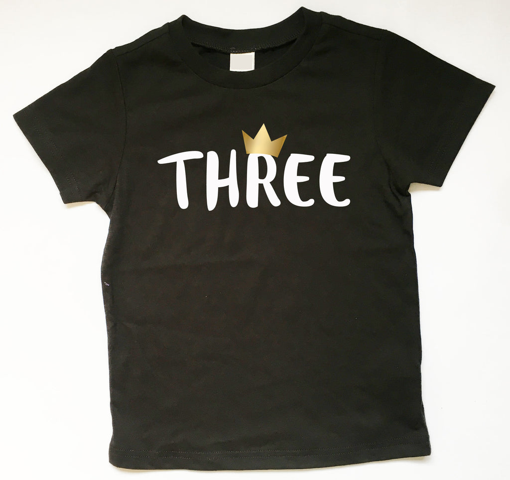 Third Birthday Shirt, 3rd Birthday Tee, Three Birthday Shirt With Gold Metallic Crown