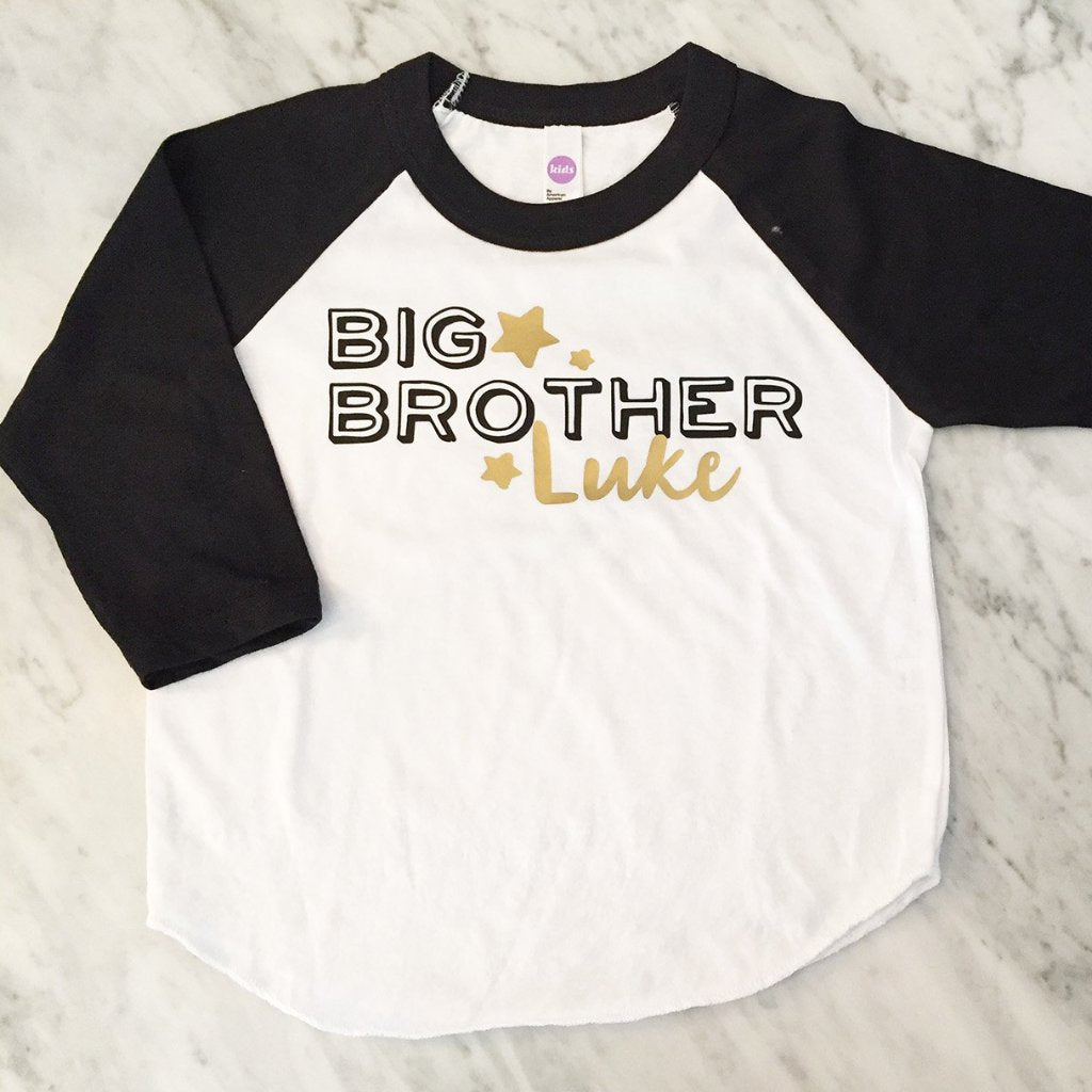 Big BROTHER shirt - Kid's personalized NAME raglan baseball shirt