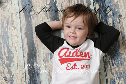 Baseball Birthday Shirt, Baseball Theme Birthday Shirt, Kid's Personalized NAME Raglan Baseball Shirt - you choose colors