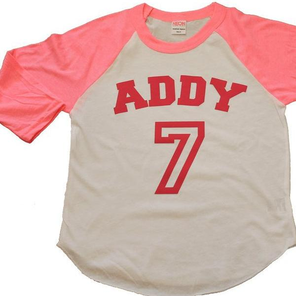 9a60c7710 girls BIRTHDAY shirt - Kid's personalized NAME and NUMBER raglan baseball  shirt - jersey shirt