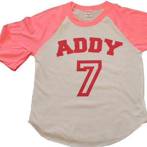 girls BIRTHDAY shirt - Kid's personalized NAME and NUMBER raglan baseball shirt - jersey shirt