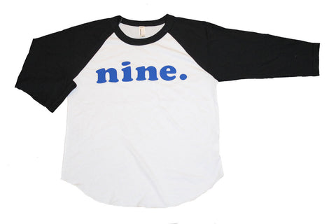 ninth BIRTHDAY, 9th birthday shirt Kid's personalized NUMBER raglan baseball shirt