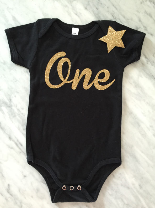 Gold glitter first birthday shirt, Girls first birthday outfit, Cake smash, Gold Birthday Outfit