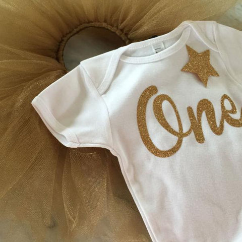 Gold Glitter First Birthday Outfit with Tutu, 1st Birthday Outfit, Cake Smash Outfit