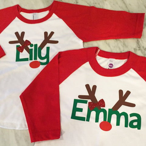 girls christmas shirt with glitter bow, girls reindeer shirt, modern color take on christmas, pink christmas shirt