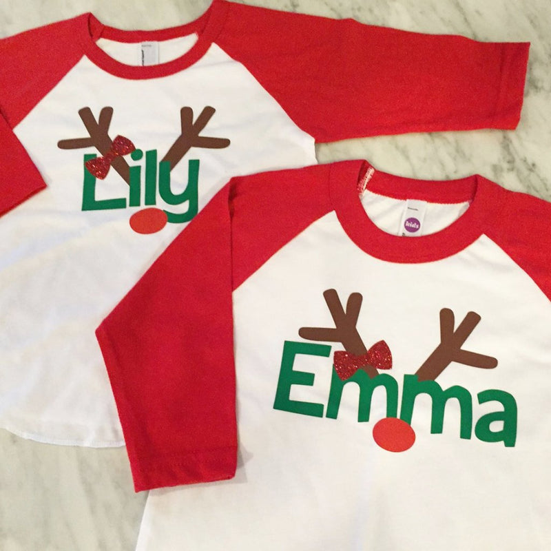 Girls Christmas Shirt With Red Glitter Bow, Girls Reindeer Shirt