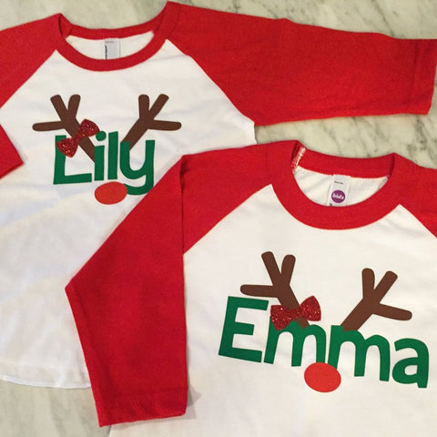 Girls Christmas Tutu Outfit, Girls Reindeer Shirt, Christmas Tutu, Baby Girl Christmas Outfit