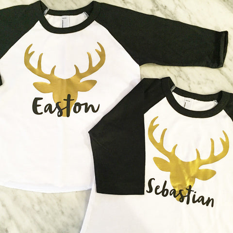 Kids Christmas Shirt, Reindeer Shirt, Gold Deer Shirt, Boys Holiday Shirt, Gold Stag Shirt