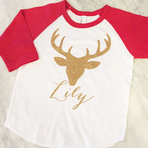 Gold Glitter Girls Christmas Shirt, Gold Tutu Christmas Outfit, Gold Glitter Reindeer Shirt