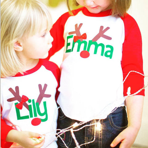 girls reindeer shirt, kids christmas shirt, personalized reindeer shirt