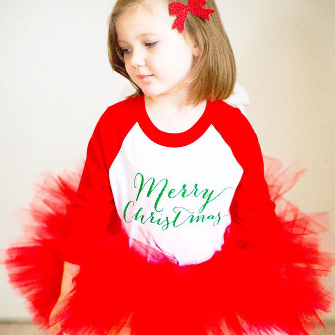 girls christmas outfit, red tutu, merry christmas shirt, red glitter bow hair clip or headband