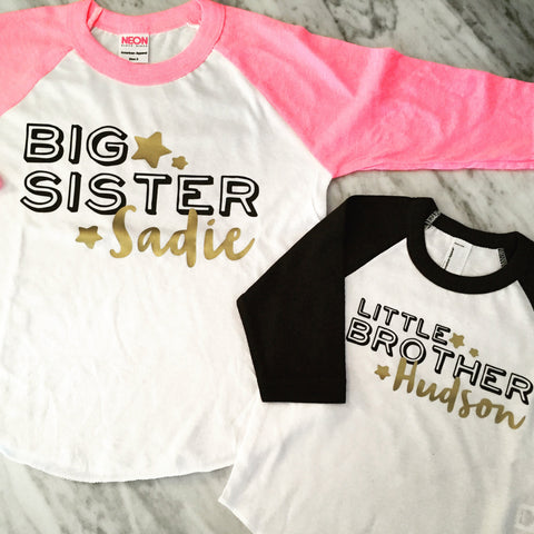 BIG sister shirt big brother shirt LITTLE brother shirt little sister shirt personalized sibling shirts, pink and gold sister shirt, black and gold brother shirt