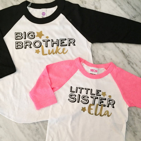 BIG brother shirt LITTLE sister shirt set - Kid's personalized NAME raglan baseball shirts - infant/ kids sizes