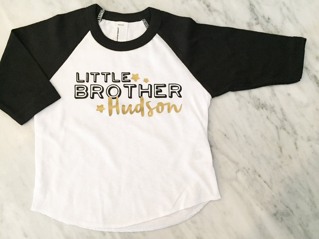 Little BROTHER shirt - Kid's personalized NAME raglan baseball shirt