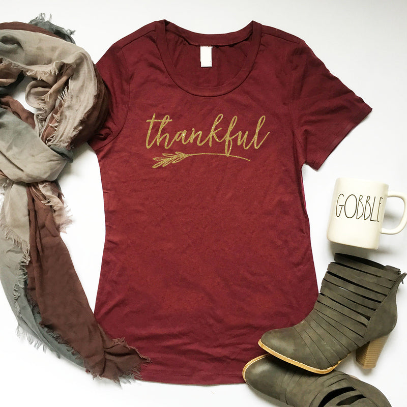 Thankful Tshirt, Ladies Thanksgiving Shirt