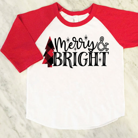 Kids Christmas Shirt, Merry & Bright Shirt, Buffalo Plaid, Red Check Plaid, Christmas Tree Shirt, Kids Festive Holiday Shirt