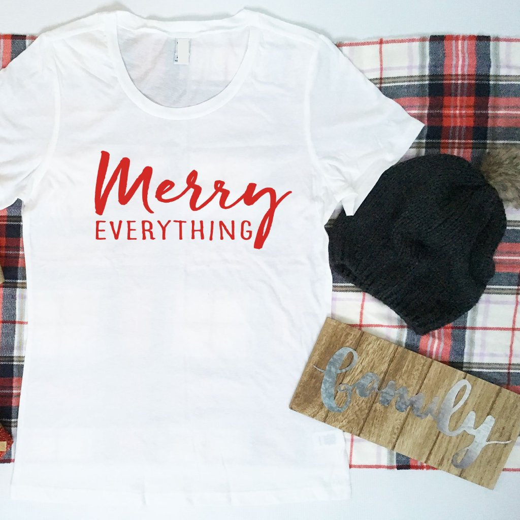 Merry Everything Ladies Tshirt, Ladies Christmas Shirt,  Ladies Non-Denominational Holiday Shirt