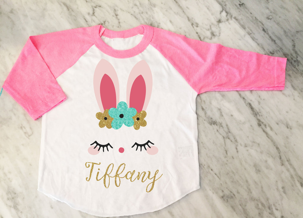 Girls Easter bunny shirt, boho bunny, Kids easter shirt