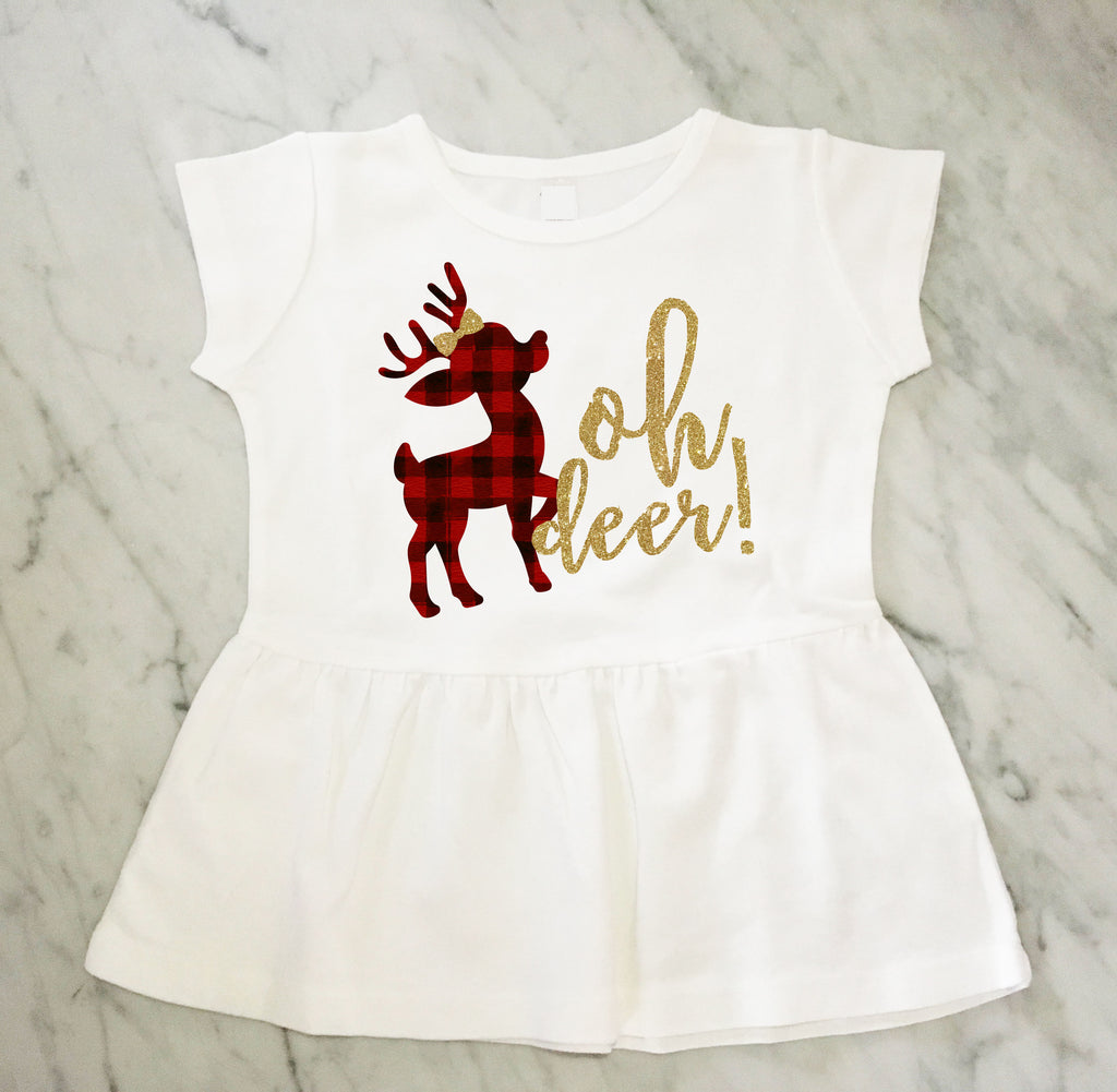 oh deer! Gold Glitter Girls Peplum Top, Buffalo Plaid Deer