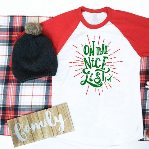 On The Nice List Shirt, On The Naughty List Shirt, Ladies Christmas Shirt, Mens Christmas Shirt, Red Baseball Raglan Shirt