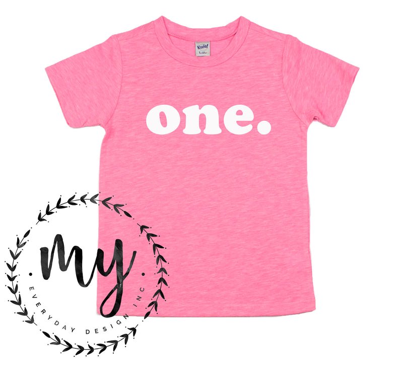 kids birthday shirt, modern simple style, pink tshirt, first birthday shirt