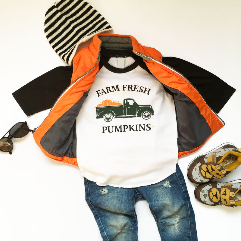 Fall Pumpkin Truck Shirt, Farm Fresh Pumpkins, Kids Pumpkin Patch Shirt, Kids Thanksgiving Shirt