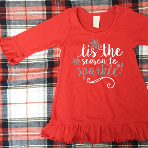 Girls Christmas Dress, Baby Girl Holiday Dress, Tis The Season To Sparkle Dress, Red, Black or White