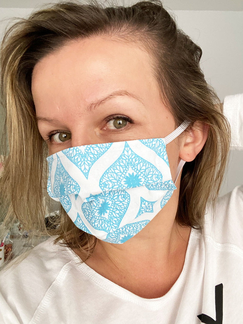 fabric face masks, washable, reusable cotton with filter pocket