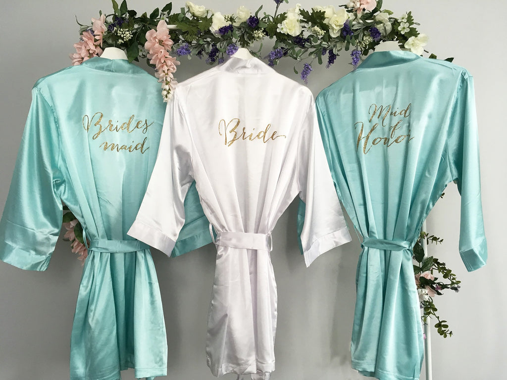 White Bride Robe, Turquoise Maid of Honor Robe, Turquoise Bridesmaid robe, Satin Bridal Party Robes