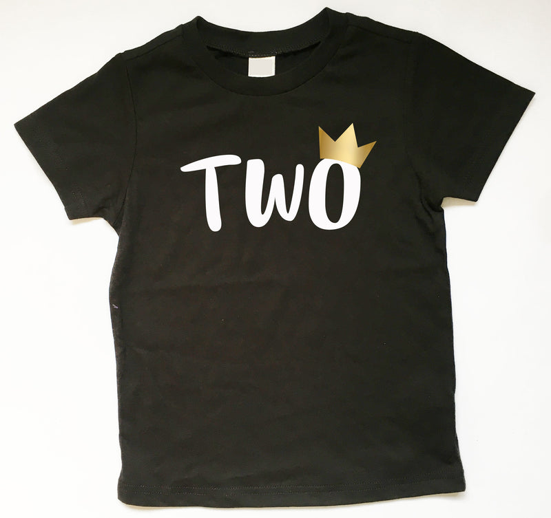 Second Birthday Shirt 2nd Tee Two With Gold Metallic Crown