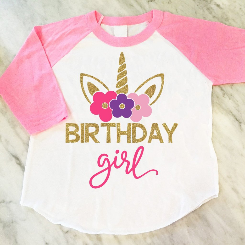 Unicorn Birthday Girl Shirt, Gold Glitter Unicorn Shirt, Unicorn Theme Birthday Party