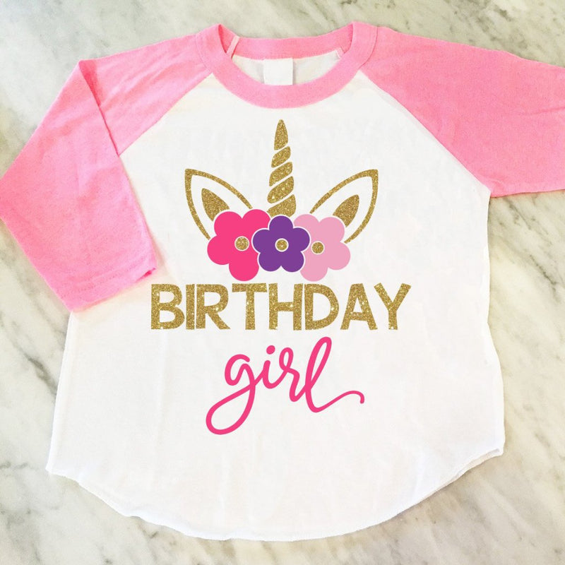 Unicorn Birthday Girl Shirt Gold Glitter Theme Party