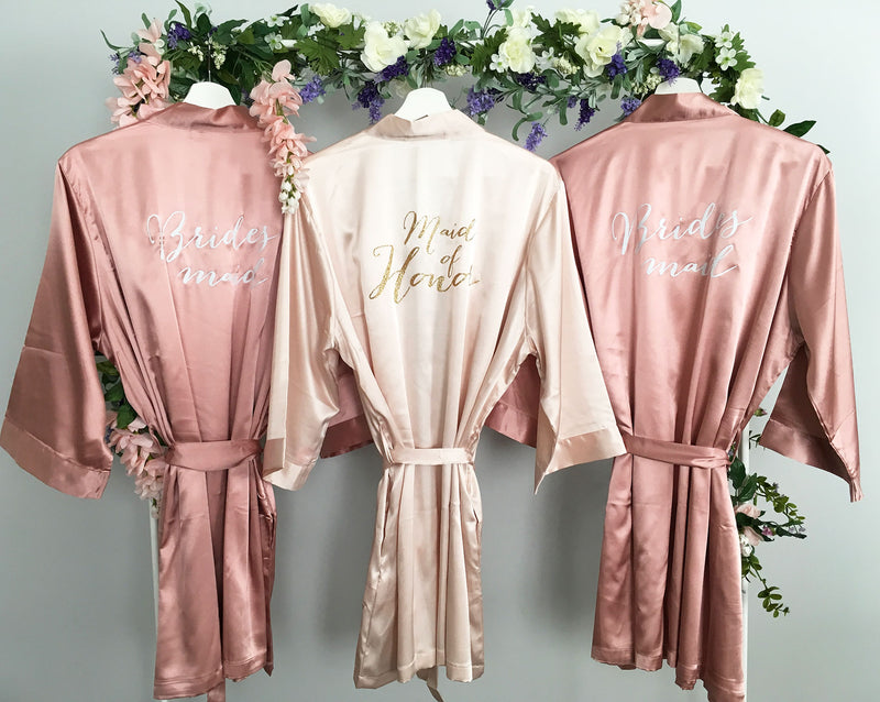 Bridesmaid Robe, Maid of Honor Robe, Rose Gold Robe, Bride Robe, Blush Pink, Gold, Satin Bridal Party Robes