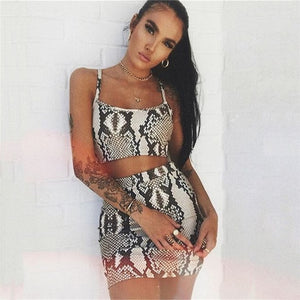 Snake Print Two Piece Set