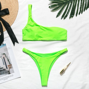 Neon One Shoulder Bikini Set