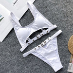High Waisted Adjustable Strap Bikini Set
