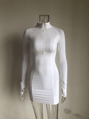 White Full Sleeve Club Dresses